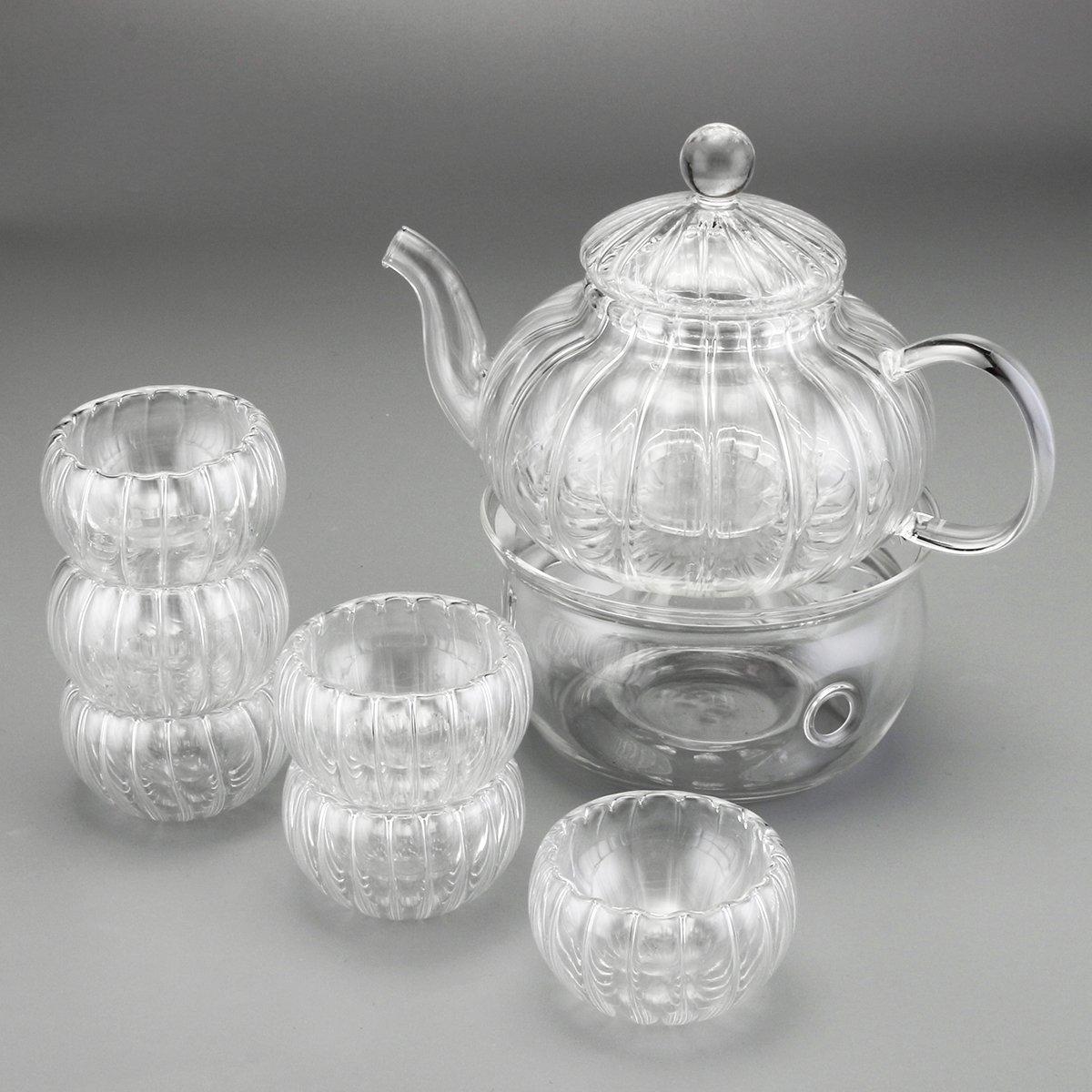LYEJM 600ml 6 Cups Tealight Warmer Clear Pumpkin Tea Glass Pot Set Infuser Coffee Pot LYEJM