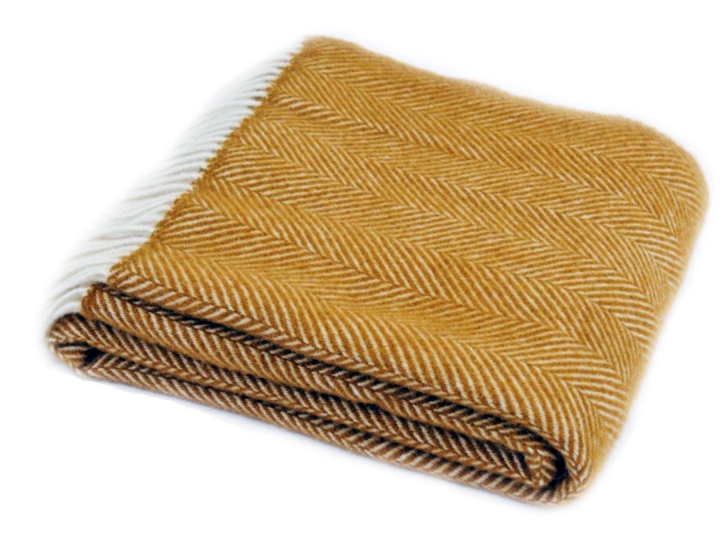 Tweedmill Textiles Couvre-lit en pure laine vierge Motifs chevrons Jaune moutarde