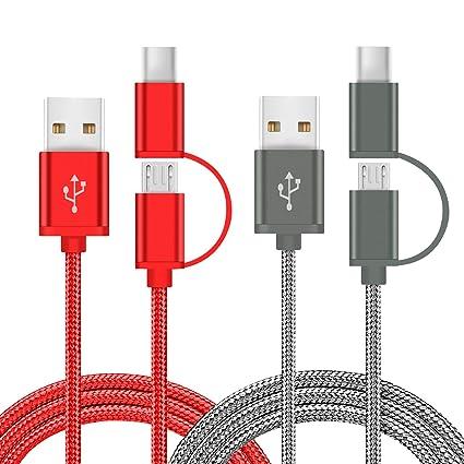 Charger Cable 2 in 1 for LG G7 G6 G5 G4 V20 V30 V35 Q7 Q8 K20 K30 Plus  Thinq V,Stylo 2 3 4,Alcatel Idol 5 4S 5S,Huawei P8 P9 P10 P20 Mate 8 9 10  20 SE