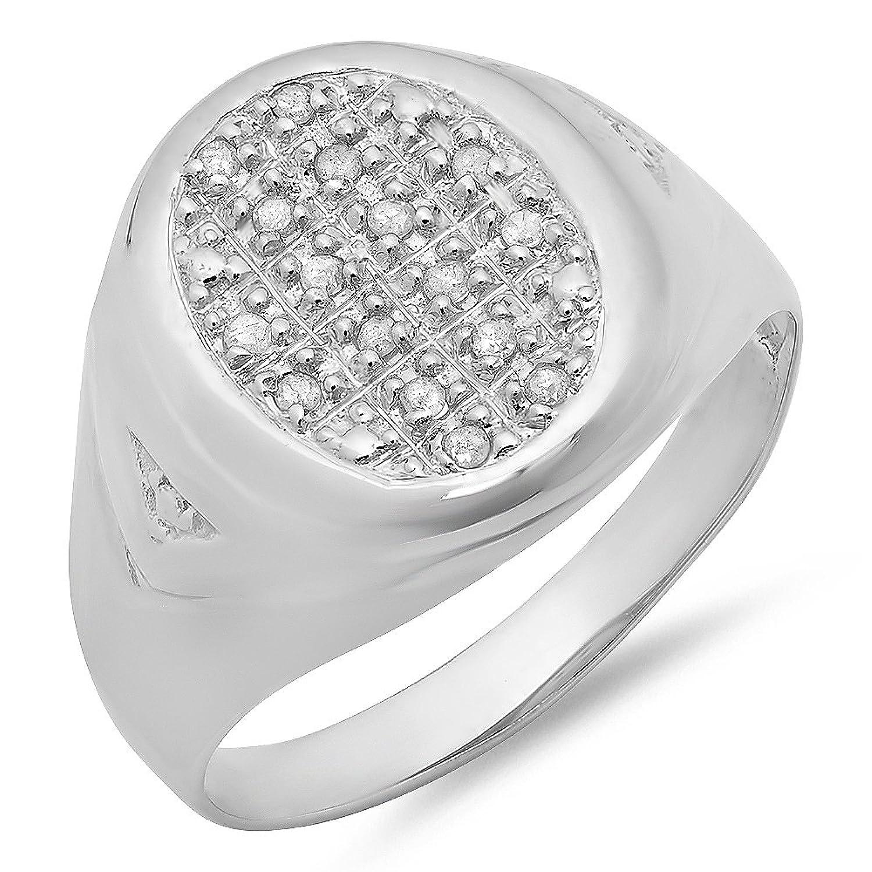 0.15 Carat (ctw) Sterling Silver Round White Real Diamond Men's Wedding Anniversary Band