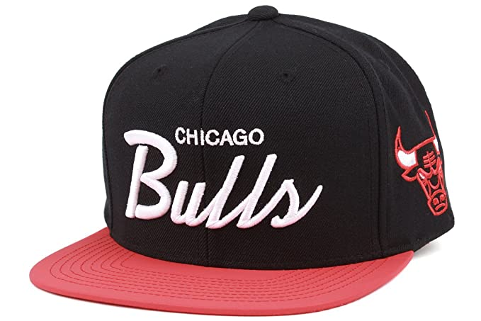 2927c5265e6 Image Unavailable. Image not available for. Color  Chicago Bulls Mitchell    Ness 2-Tone Script Reflective Snapback Hat