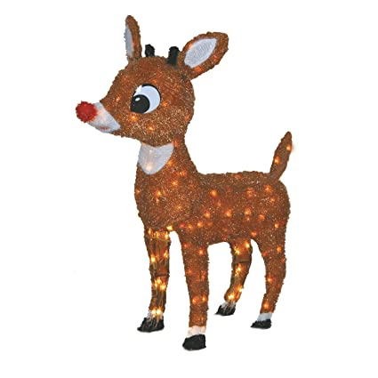 Rudolph Christmas Decorations.Product Works Lighted Rudolph Outdoor Decor 26 Inch Lawn Ornament