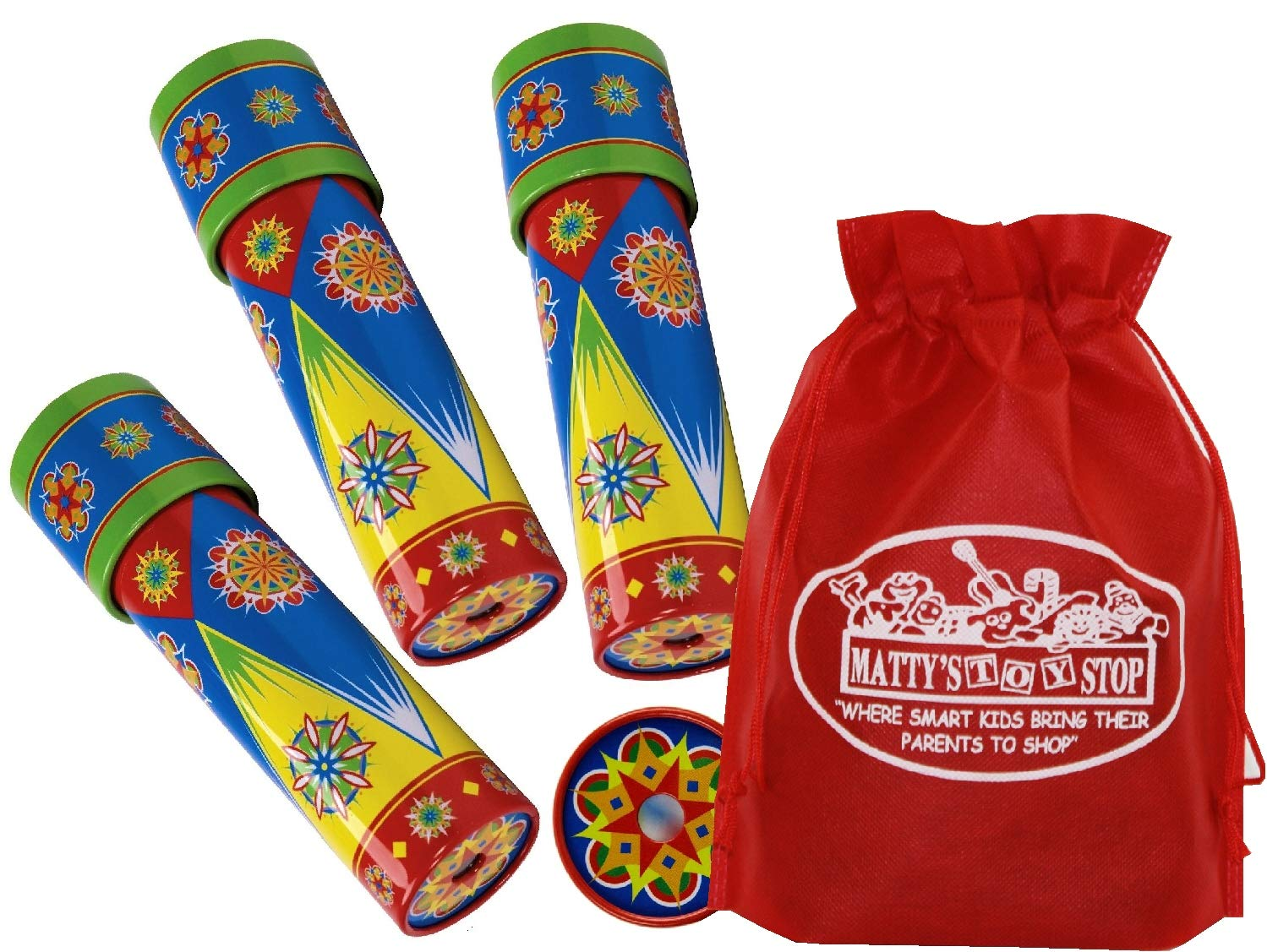 Schylling Classic Tin Kaleidoscope Party Set Bundle Includes Exclusive Matty's Toy Stop Storage Bag - 3 Pack by Schylling