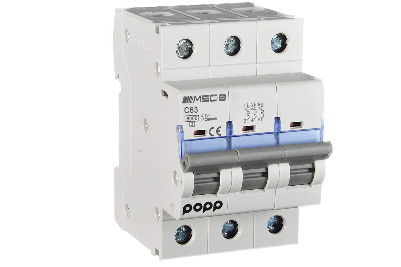 3P+N, 10A 6A 10A 16A 20A 25A 32A 40A 50A 63A /… POPP/® Interruptor Autom/ático Magnetot/érmico industrial CURVA C 1P 2P 3P