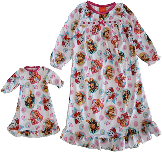 Nickelodeon Girls Paw Patrol Nightgown with Matching 18 Doll Gown 2T