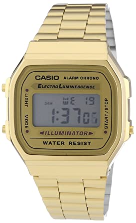 b0a76944829 Image Unavailable. Image not available for. Color  Casio Vintage Retro Gold  Digital Dial Stainless Steel Unisex Watch A168WG9UR