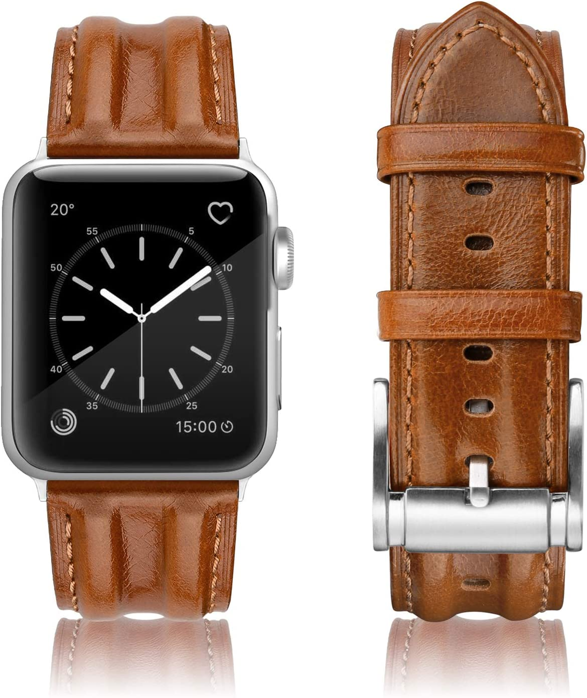 SWEES Leather Band Compatible with iWatch 42mm 44mm, Genuine Leather Classic Strap Wristband Compatible for Watch Series 6, Series 5, Series 4, Series 3, Series 2, Series 1, SE Sports & Edition Men, Retro Saddle Brown