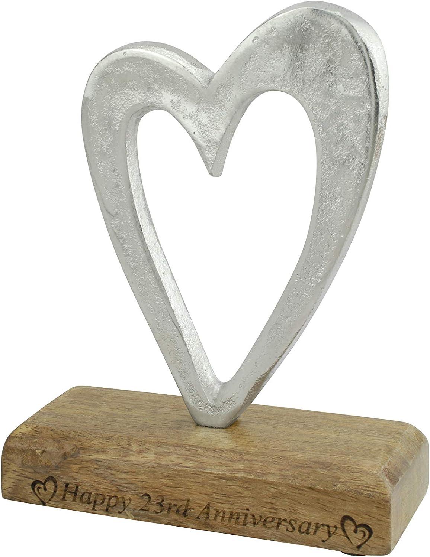 23rd Anniversary Rustic Metal Heart Decoration – Free Standing Aluminium & Wooden Decoration (hssanni-23)
