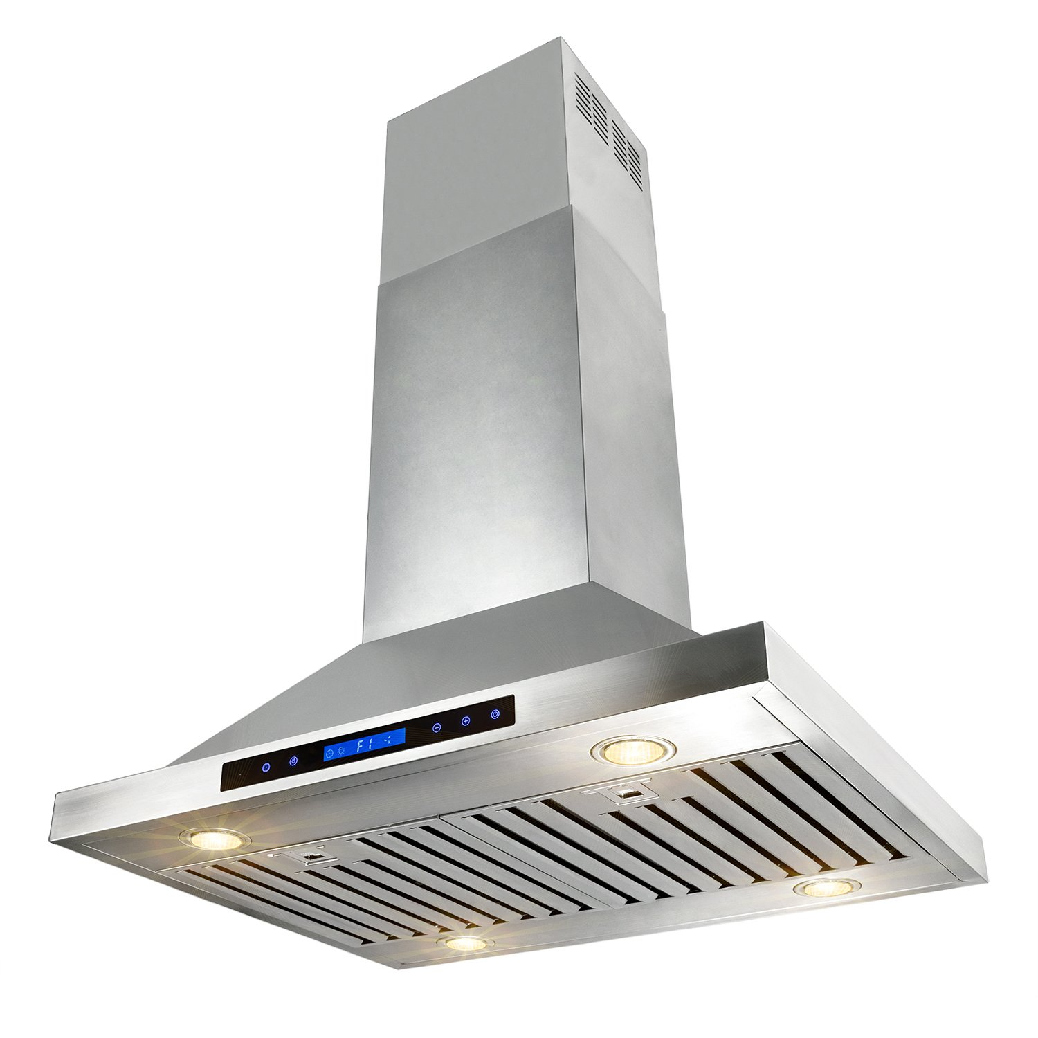 AKDY 30 Stainless Steel Island Mount Dual LED Both Side Touch Control Panel Kitchen Range Hood w//Remote