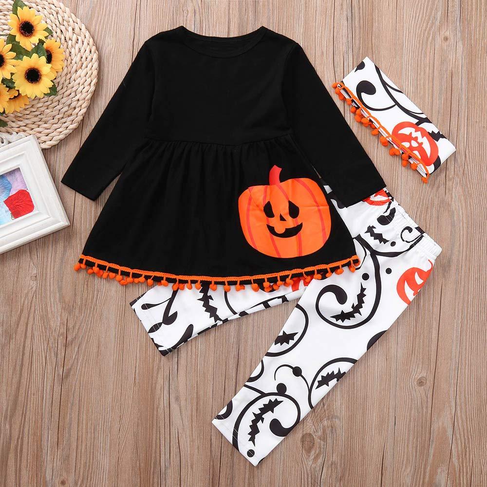 Toddler Baby Infant Girls Pumpkin Dresses Pants Halloween Costume Outfits Set