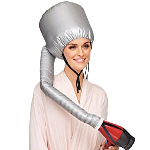 Aisilk Portable Hair Dryer Bonnet Attachment for Hair Styling, Hair color, Hair condition and more - Silver