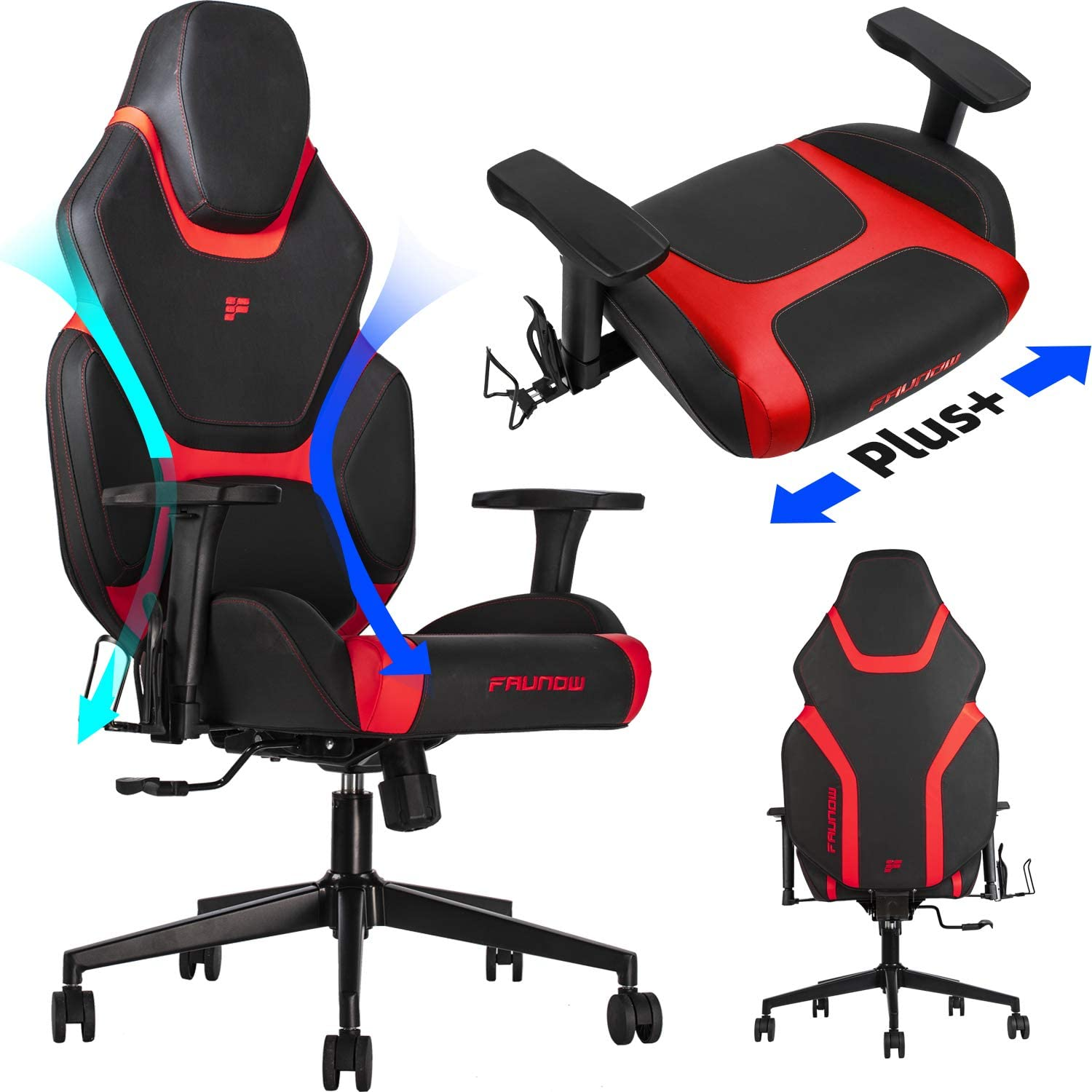 FAUNOW High Back E-Sports Gaming Chair with Headrest and Lumbar Support