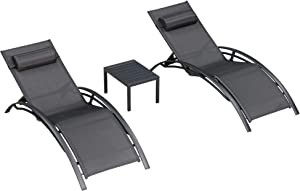 PURPLE LEAF Patio Chaise Lounge Sets 3 Pieces Outdoor Lounge Chair Sunbathing Chair with Headrest and Table for All Weather, Black