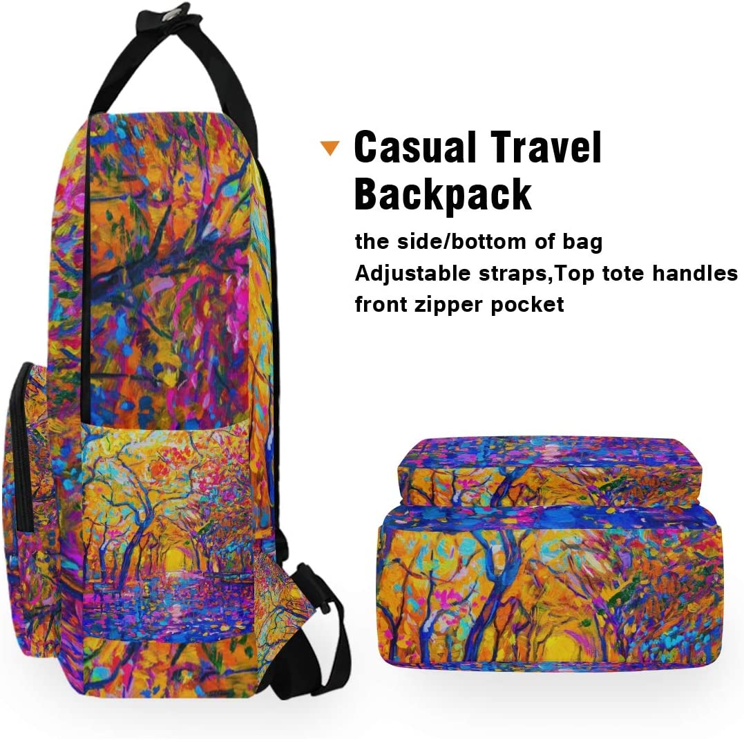 Holds 14-inch Laptop Backpacks College School Book Bag Travel Hiking Camping Daypack for boy for Girl 10.5x5.5x15 Colorful Tree Painting