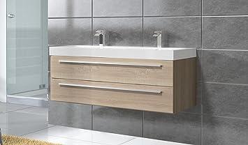 Badezimmer Badmöbel Rome 120 Cm Eiche Hell Unterschrank Schrank
