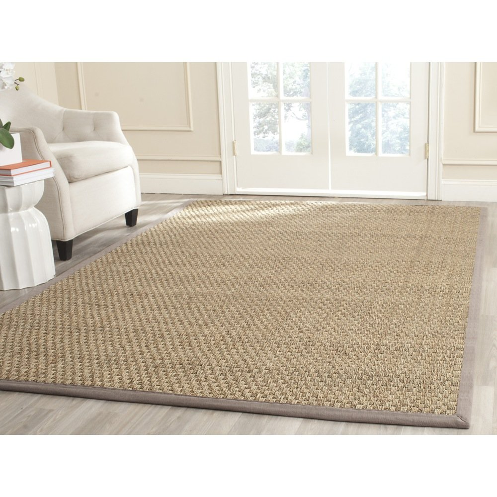 Safavieh Natural Fiber Collection NF114P Basketweave Natural and  Grey Seagrass Area Rug (8' x 10')