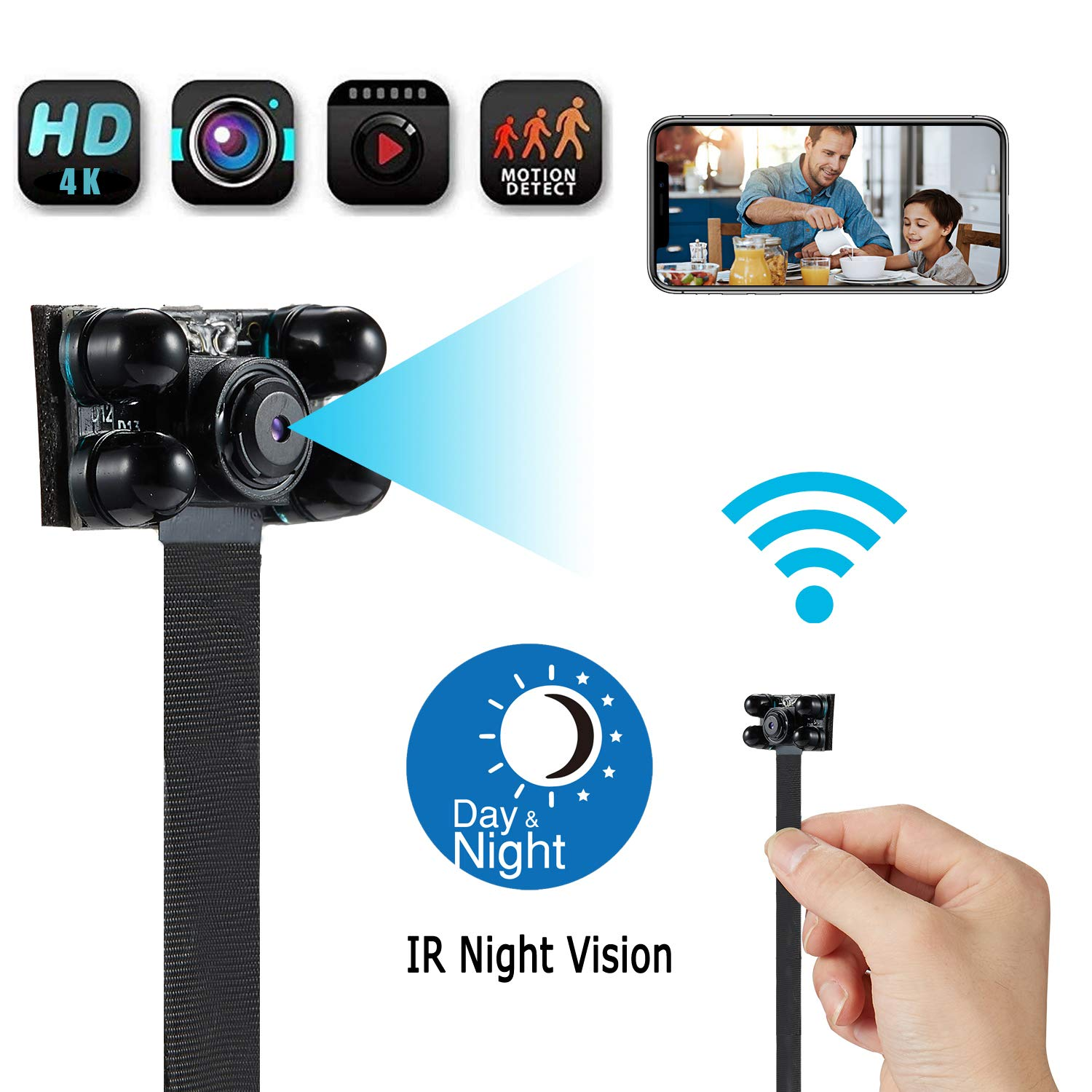 Spy Camera Wireless Hidden Camera WiFi Camera, 4K HD DIY Mini Camera Home Security Camera Small Camera Nanny Cam with Night Vision/Motion Detection/Remotely View, APP Supports Android/iOS by Qouya