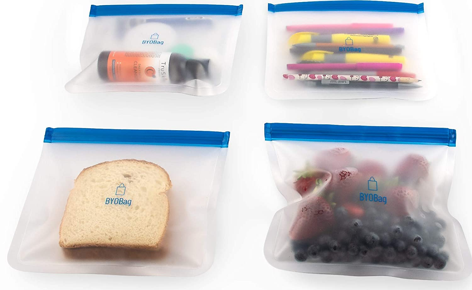 BYOBag – 4 Pack of Reusable Sandwich Bags, Snack Bag, Multipurpose Storage Bag, Perfect For Cosmetics, Stationery and Travel Items, Eco-Friendly Ziplock Bag, FDA-Approved and BPA-Free