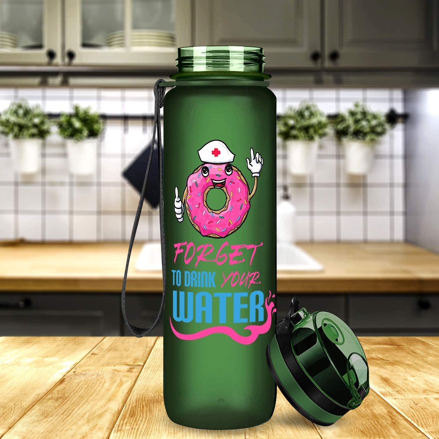 Donut Forget to Drink Your Water 22oz Water Bottle