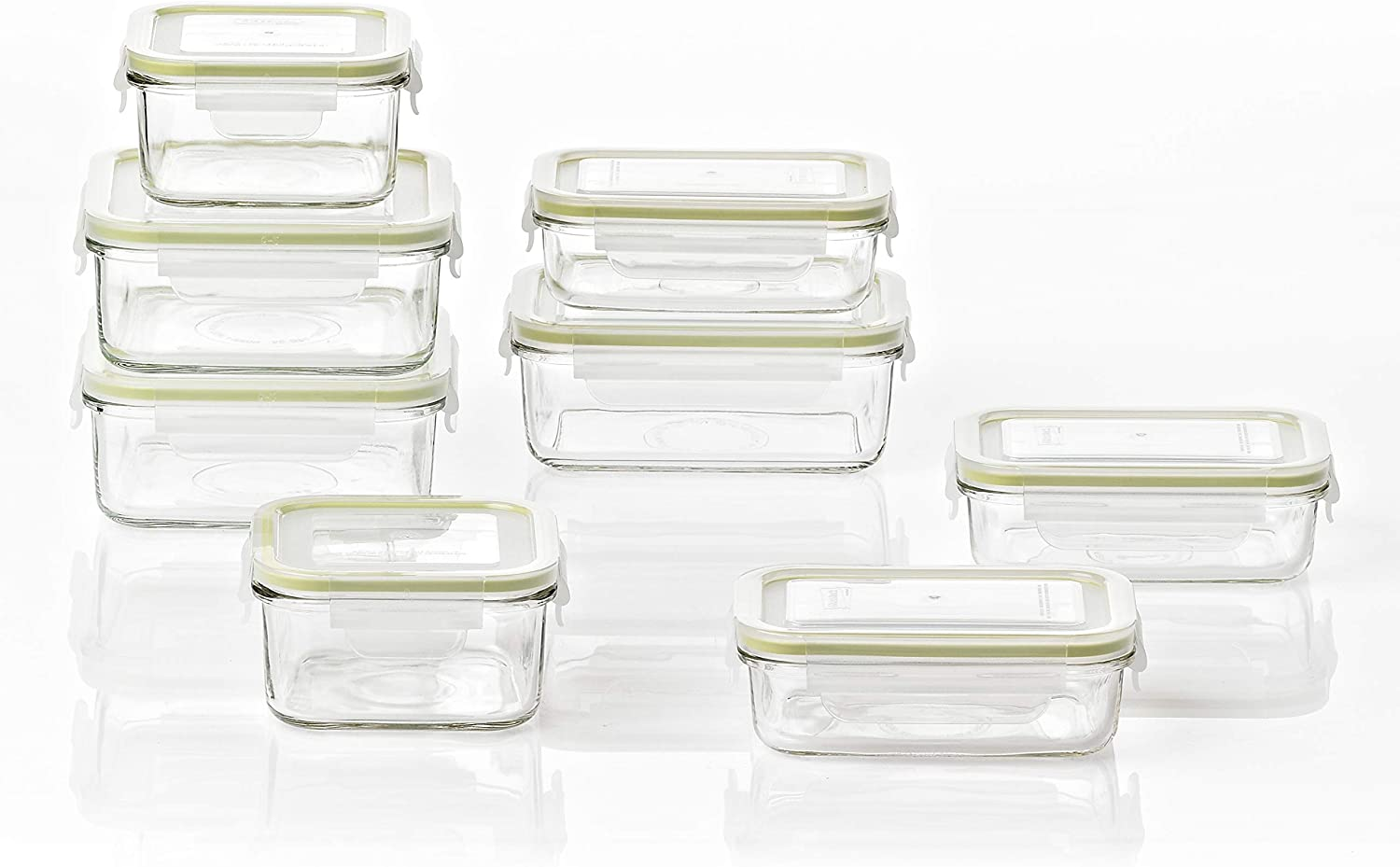 Glasslock Reusable Food Storage Container Set with Locking Lids for Leftovers and Meal Prepping, Oven & Freezer Safe, 16 Piece Set