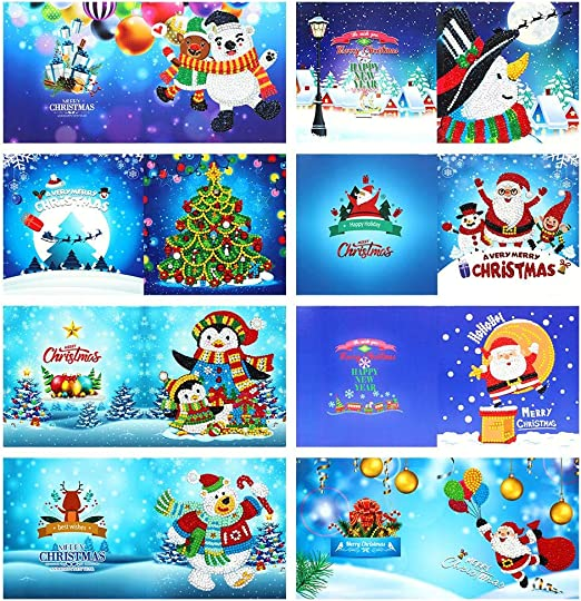 8pcs DIY Special Shaped Diamond Painting Embroidery Christmas Xmas Card Gift New