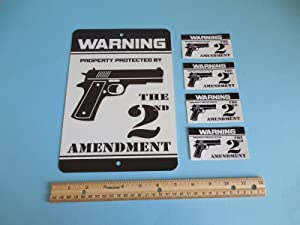 Security Signs Warning Property Protected by The 2nd Amendment Gun Metal Home 4 Window Stickers # 723