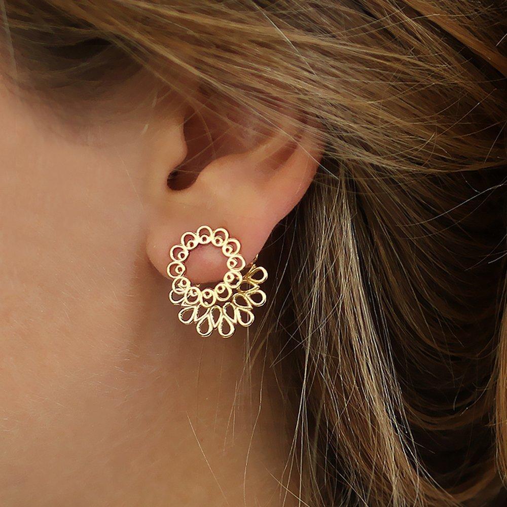 3836635d6 Amazon.com: Handmade Ear jacket earring Gold-plated Sterling Silver Mandala  Jacket + Stud Earrings, wedding earrings: Handmade