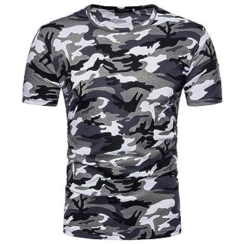 Herren Kurze Shirt, Sunday Herren Mode Persönlichkeit Camouflage Männer Casual Schlank Kurzarm Shirt Top Bluse Sporthose Yoga Kurzarm Shirt Tarnung