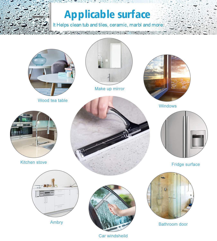 1 Ersatzlippe Ulinek Abzieher Dusche Edelstahl Duschabzieher Fensterabzieher mit starkem Saughaken,ideal f/ür Spiegel Bad und Dusche,Inkl