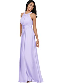 2a5f9b2adf1 Alicepub Bridesmaid Maxi Dresses Long for Women Formal Evening Party Prom  Gown Halter