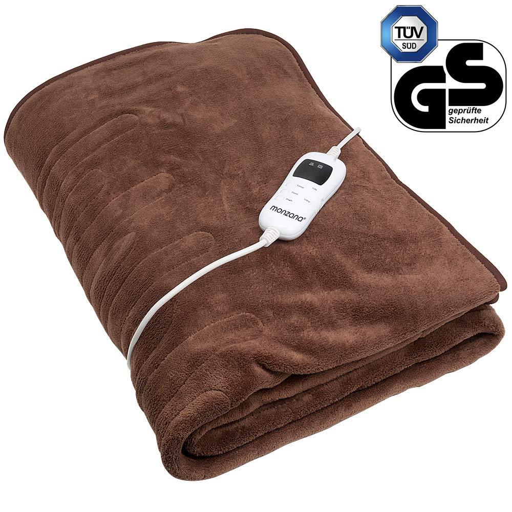 9 niveaux de temp/érature chaleur lit confort doux polaire Arr/êt automatique Couverture chauffante 180 x 130 cm brun