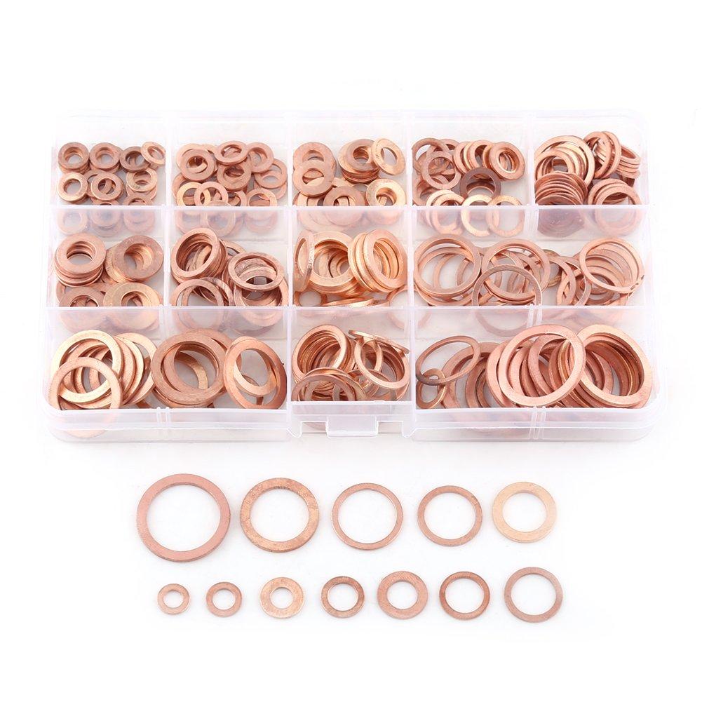 Confezione da 280 pezzi Rondella piatta Rondelle piane Kit anello di tenuta piatto con raccordi per viti Bulloni di fissaggio (12 dimensioni) Hilitand