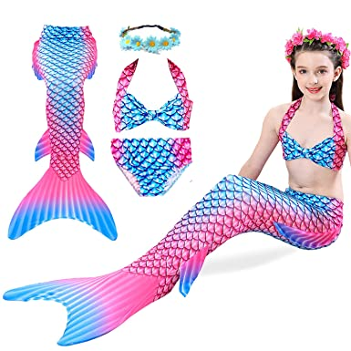 0be154569a868 Image Unavailable. Image not available for. Color: Girls 4 Pcs Tankini  Swimsuit Mermaid Tails for Swimming Bikini Bathing Suit ...