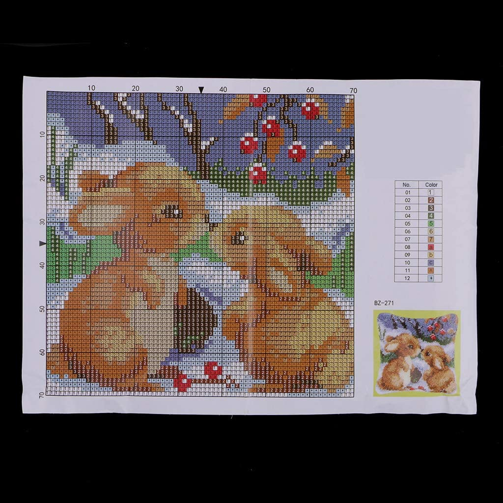 Handmade Two Rabbits Latch Hook Kits for Adults DIY Pillow Cover Sofa Cushion Cover 43 x 43cm