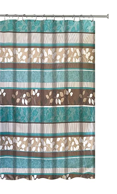 Attrayant Aqua Blue Fabric Shower Curtain: Primitive Striped Floral Design, 70 By 72  Inches,