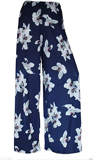 Womens Ladies Lily Printed Flared Palazzo Wide Leg Trouser Party Wear Pants