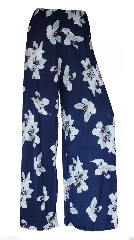 GirlzWalk @ Women White Lily Floral Wide Leg Ladies Navy Palazzo Trouser Plus Size