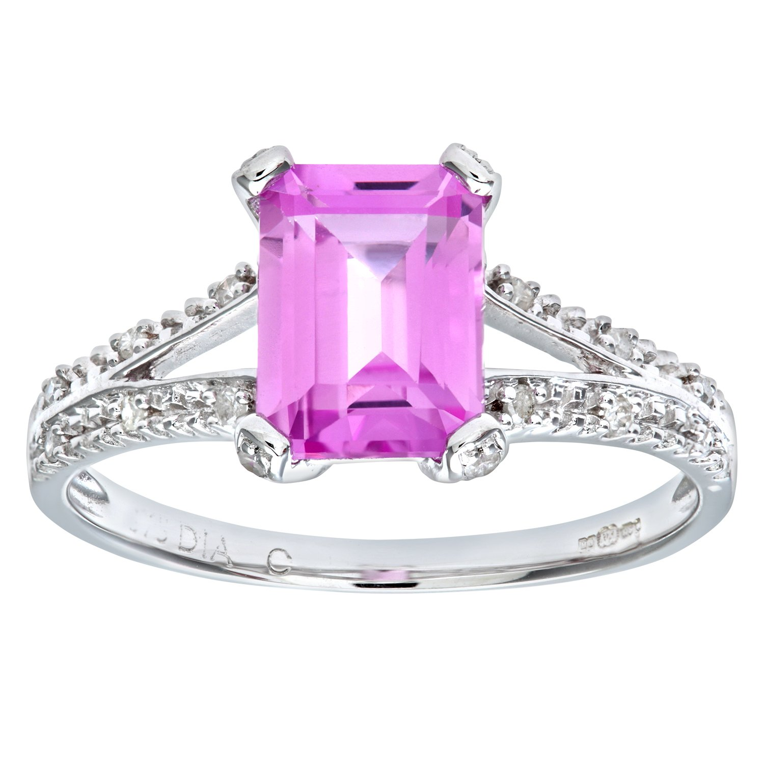 Naava Women\'s 9 ct White Gold Emerald Cut Created Pink Sapphire Ring ...
