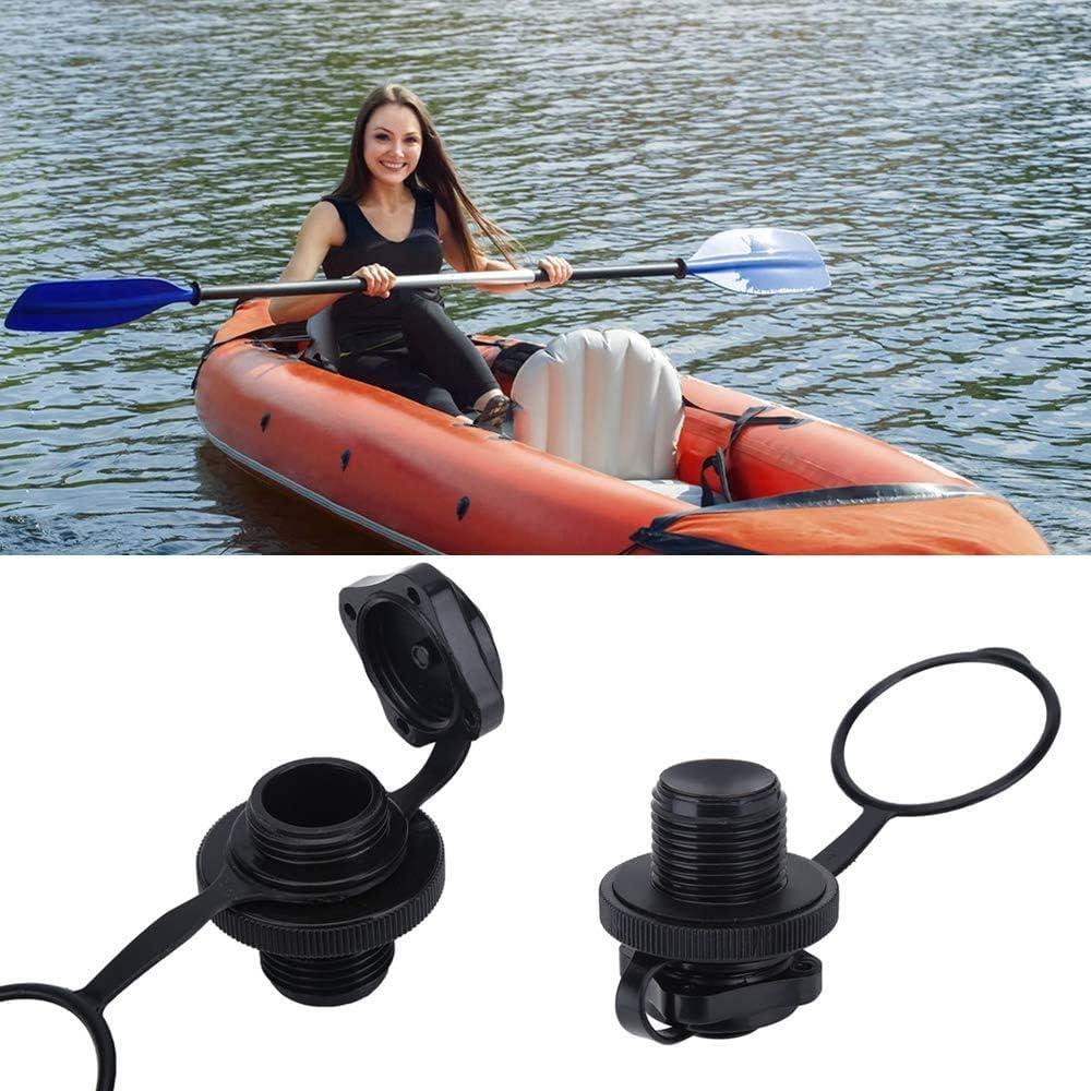 negro POFET 5pcs v/álvula de aire inflable barco espiral tapones de aire unidireccional de reemplazo de inflado v/álvula Boston para balsa de goma Kayak piscina barco airbeds