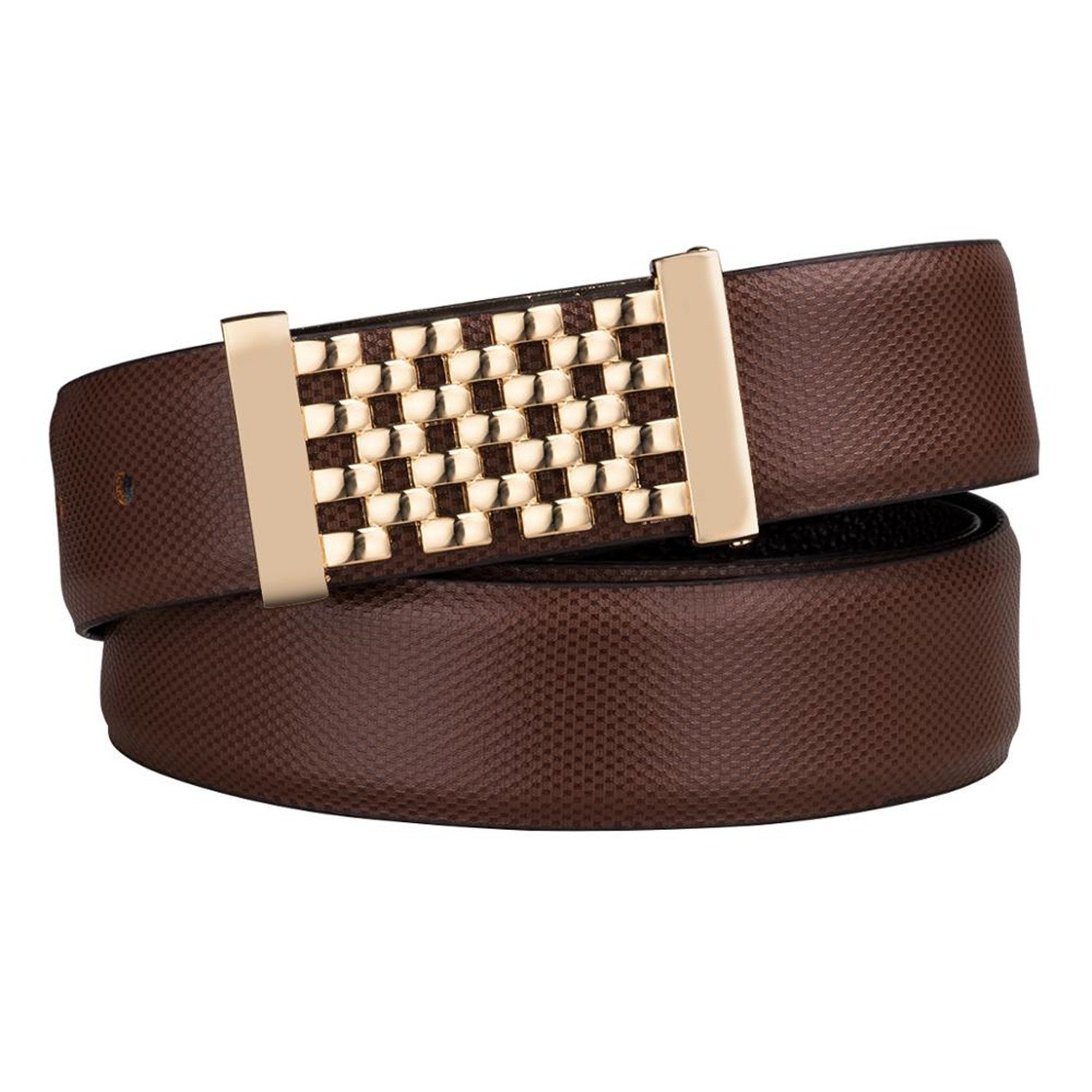 Anieca Genuine Leather Metal Buckle Mens Belts Alloy Buckle Belts Business Party