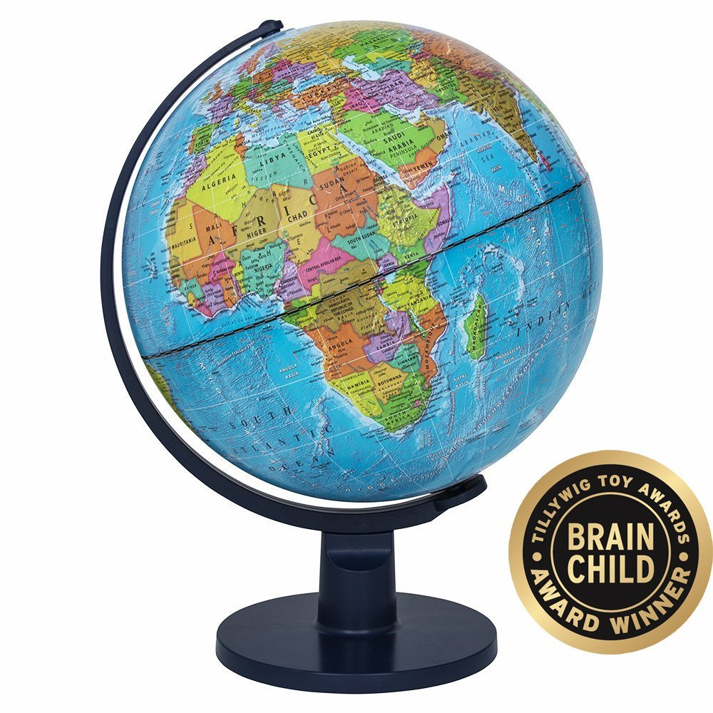 Waypoint Geographic Light Up Globe for Kids - Scout 12'' Desk Classroom Decorative Illuminated Globe with Stand, More Than 4000 Names & Placesup to Date World Globe by Waypoint Geographic