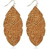 NEW Victorian Rose wGold Fleck \u201cArch\u201d Circle Earrings Wood Earrings Fall Earrings Leather /& Cork Earrings Statement Earrings