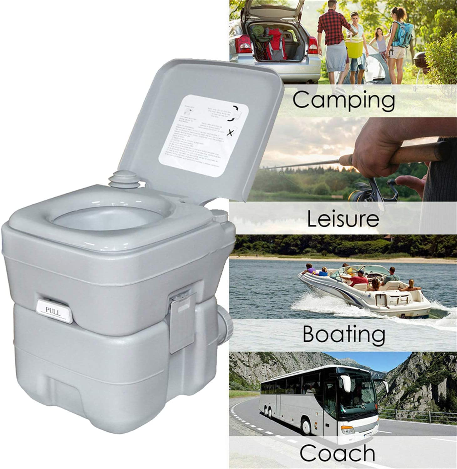 HTTMT - Portable Flush Toilet Commode Potty for Travel Camping Boating Hiking Roadtripping Use On RV Boat Coach Outdoor Indoor & More | 5 Gallon 20L Easy Clean [P/N: ET-Toilet001]