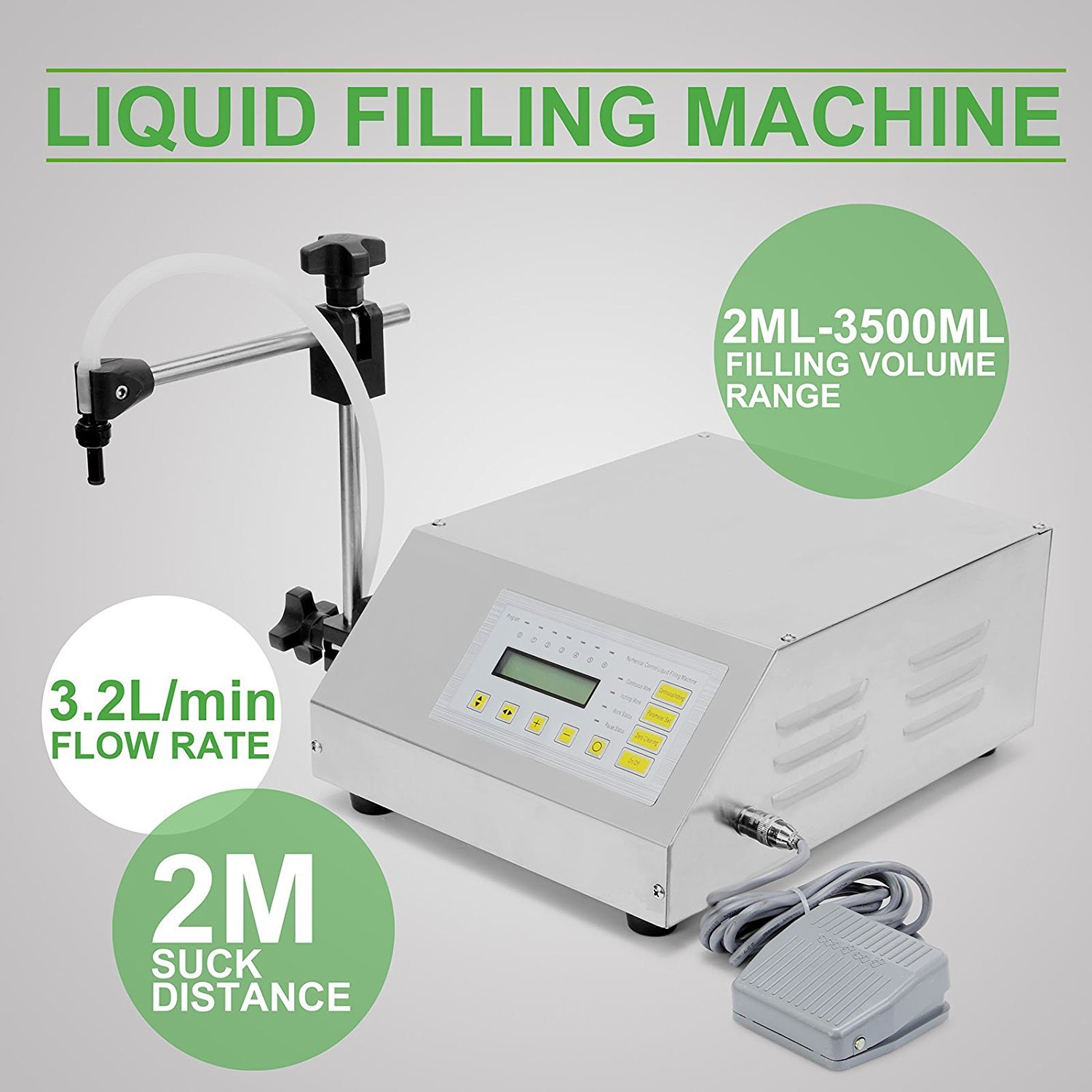 Numerical Digital Control Pump Drink Water Liquid Filling Machine Gfk-160 (2ml-3500ml) 110v for USA 220v for Others by Youlian