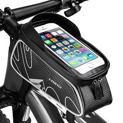 849bb55e56c Amazon.com   VANWALK Bike Front Storage Bag Cycling Top Tube Phone Bag  Frame Handlebar Tool Bicycle Bag Zipper Waterproof Touch Screen Cellphone  Mount Below ...