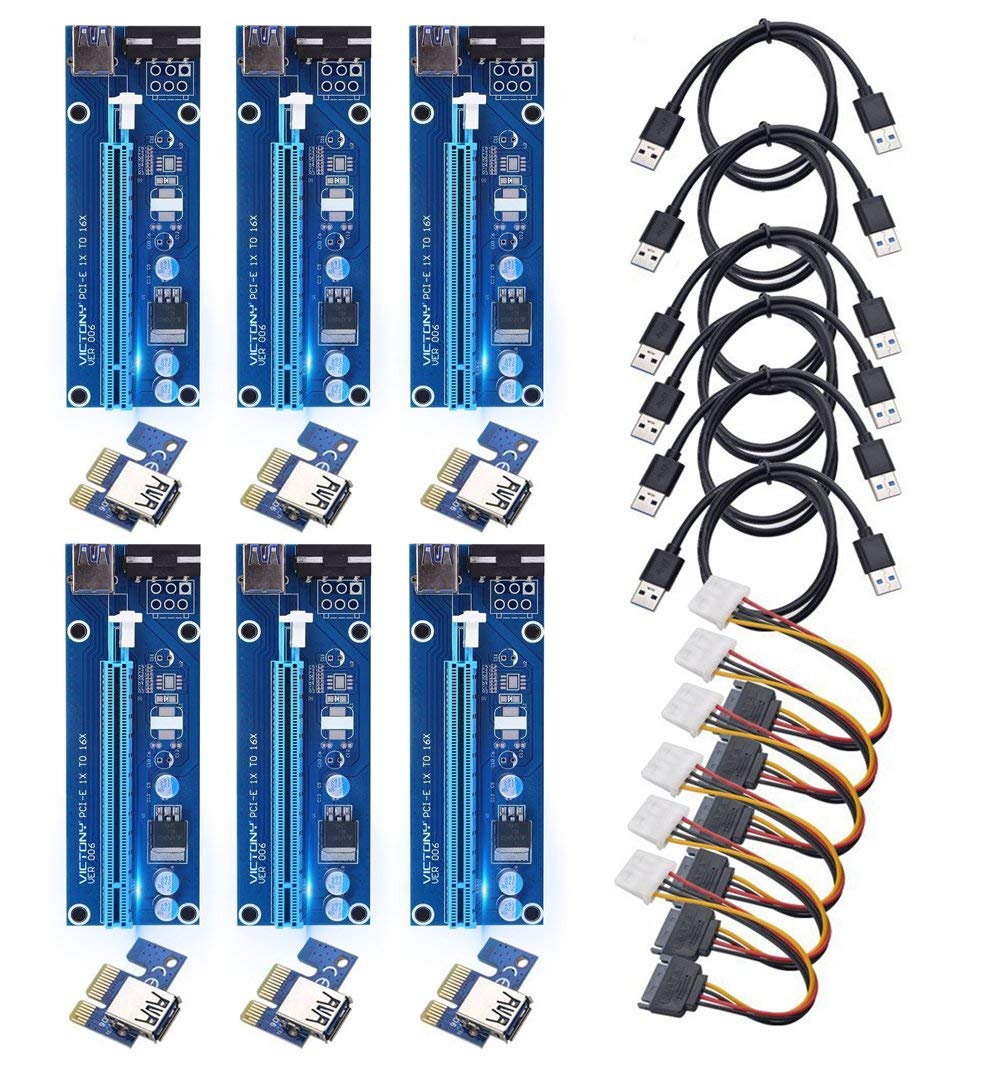 GPU Riser Adapter070101 2019 PCIE Riser 6-Pack 16x to 1x Powered Riser Adapter Card w// 60cm USB 3.0 Extension Cable /& MOLEX to SATA Power Cable