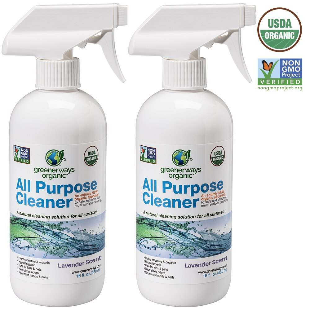 Greenerways Organic All-Purpose Lavender Scented Cleaner, Natural USDA Organic Non-GMO, Best Household Multi Surface Spray Cleaner for Home, Natural House Cleaner - 2 Pack (2) 16oz, MSRP 23.98