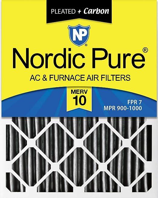 MERV 12 Pleated AC Furnace Air Filter, 3-5//8 Actual Depth Nordic Pure 20x25x4