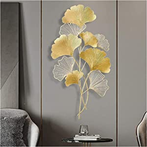 Metal Wall Art Leaves,3D Tree Leaf Metal Wall Art Sculptures,Home Golden Ginkgo Decor,creative Contemporary Artwork Ornament Durable Smooth Life Hanging Decoration,for Living Room,Bedroom,Bar,Office 2