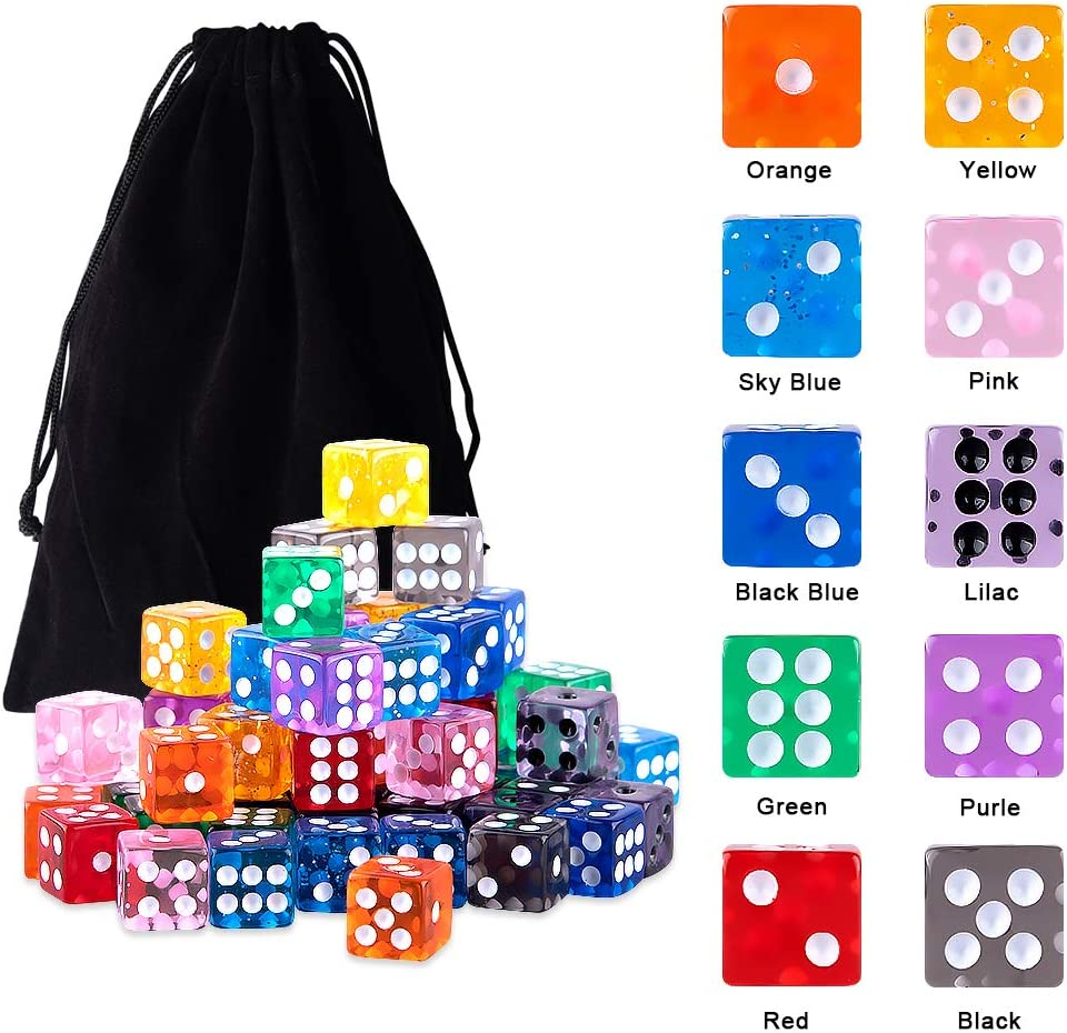 SIQUK 100 Pezzi Dadi da Gioco 12mm Dadi 6 Facce per Tenzi Farkle Casino Giochi da Tavolo 10 Colori Traslucidi